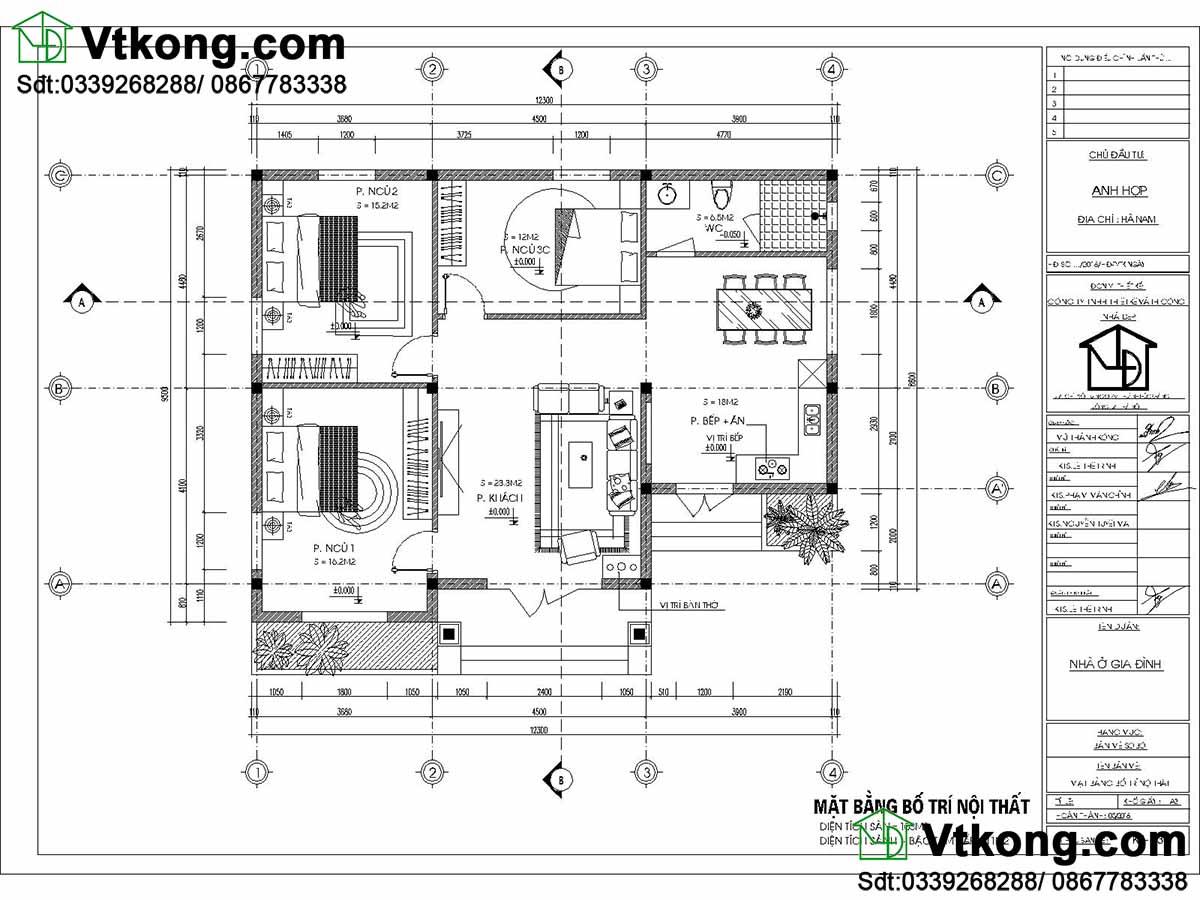 Bản vẽ chi tiết mặt bằng bố trí nội thất căn nhà.