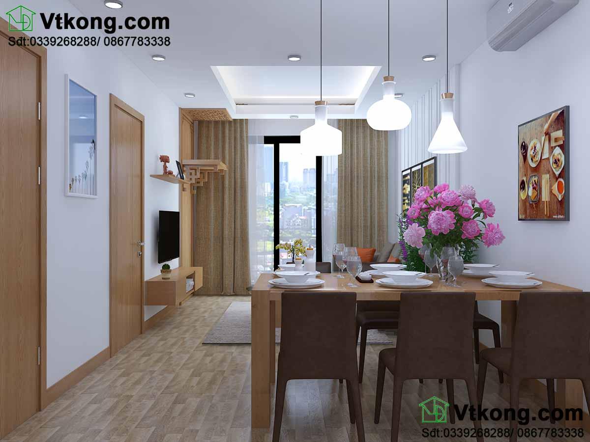 Bàn ăn nhỏ gọn, thiết kế và màu sắc phù hợp với gian phòng.