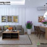 Thiết kế nội thất chung cư phòng khách và phòng bếp