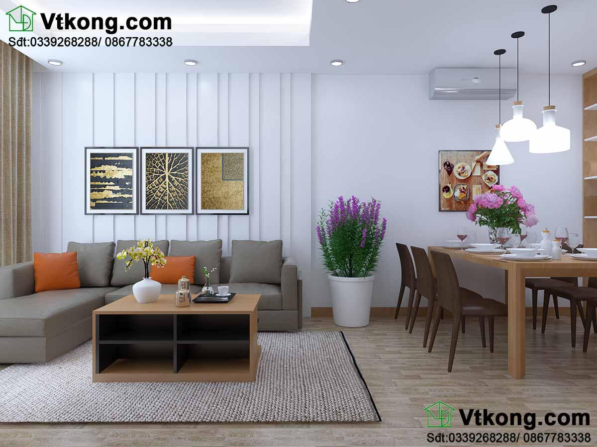 Thiết kế nội thất chung cư phòng khách hiện đại.