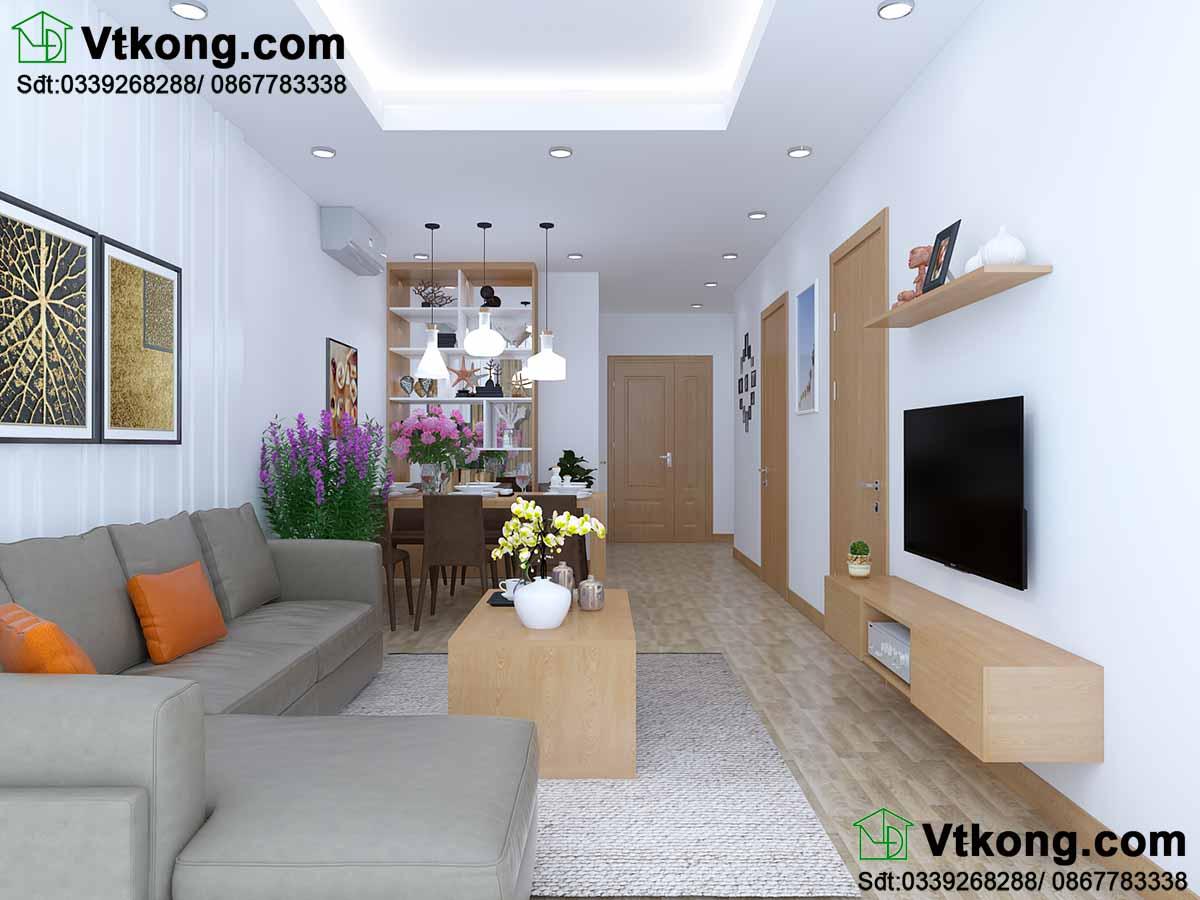 Thiết kế nội thất chung cư phòng khách kết hợp phòng bếp.