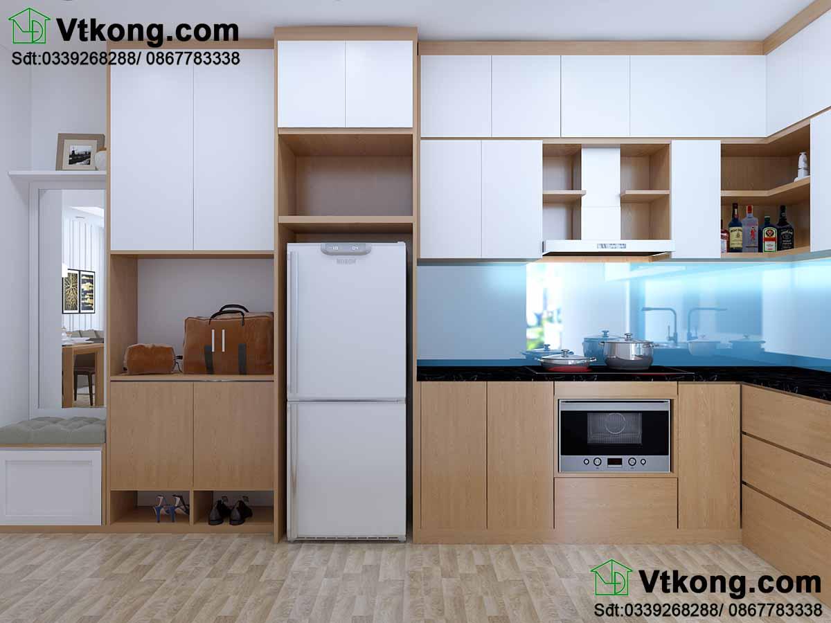 Thiết kế nội thất chung cư 2 phòng ngủ với phòng bếp hiện đại.