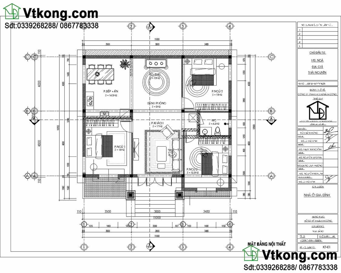 Mặt bằng nội thất thiết kế thi công trọn gói nhà 1 tầng.