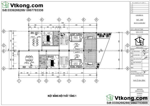 nội thất tầng 1 biệt thự 2 tầng BT2T42