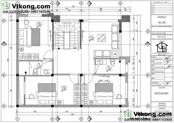 mặt bằng tầng 2 Biệt thự 3 tầng mặt tiền 8m BT3T5