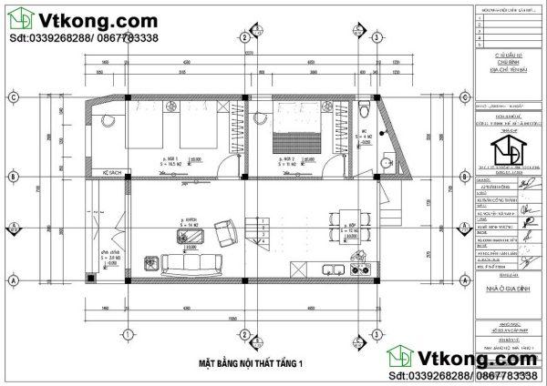 mặt bằng nội thất mẫu biệt thự 2 tầng BT2T45