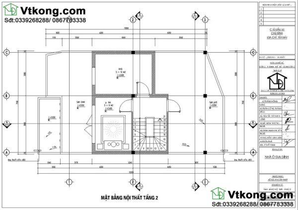 mặt bằng nội thất tầng 2 mẫu biệt thự 2 tầng BT2T45