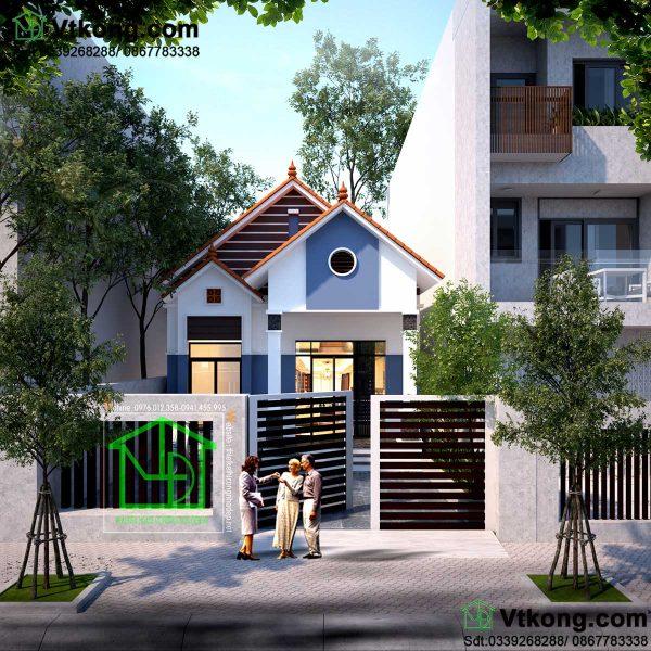 nhà cấp 4 7x10m mái thái đẹp NC455