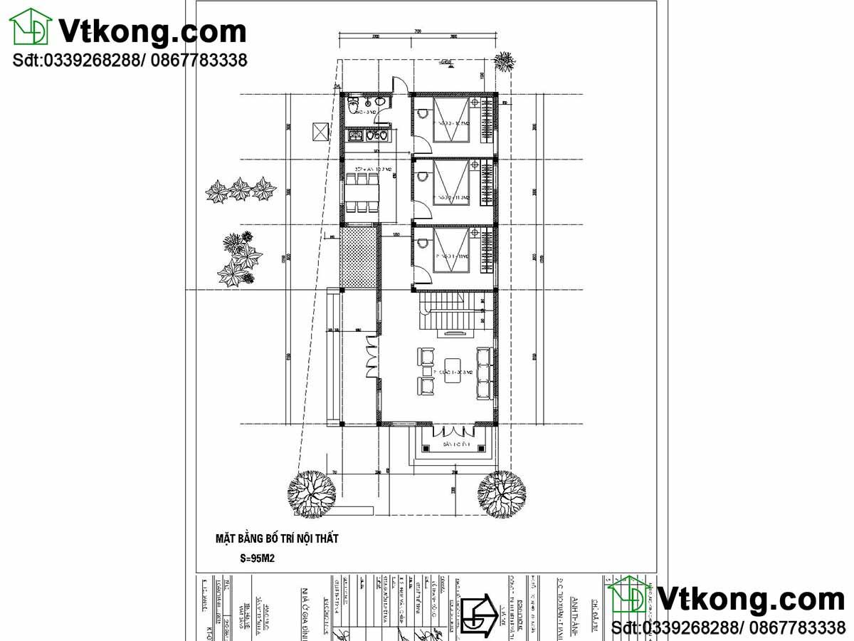 Mặt bằng nội thất biệt thự 1 tầng mái thái BT1T66.