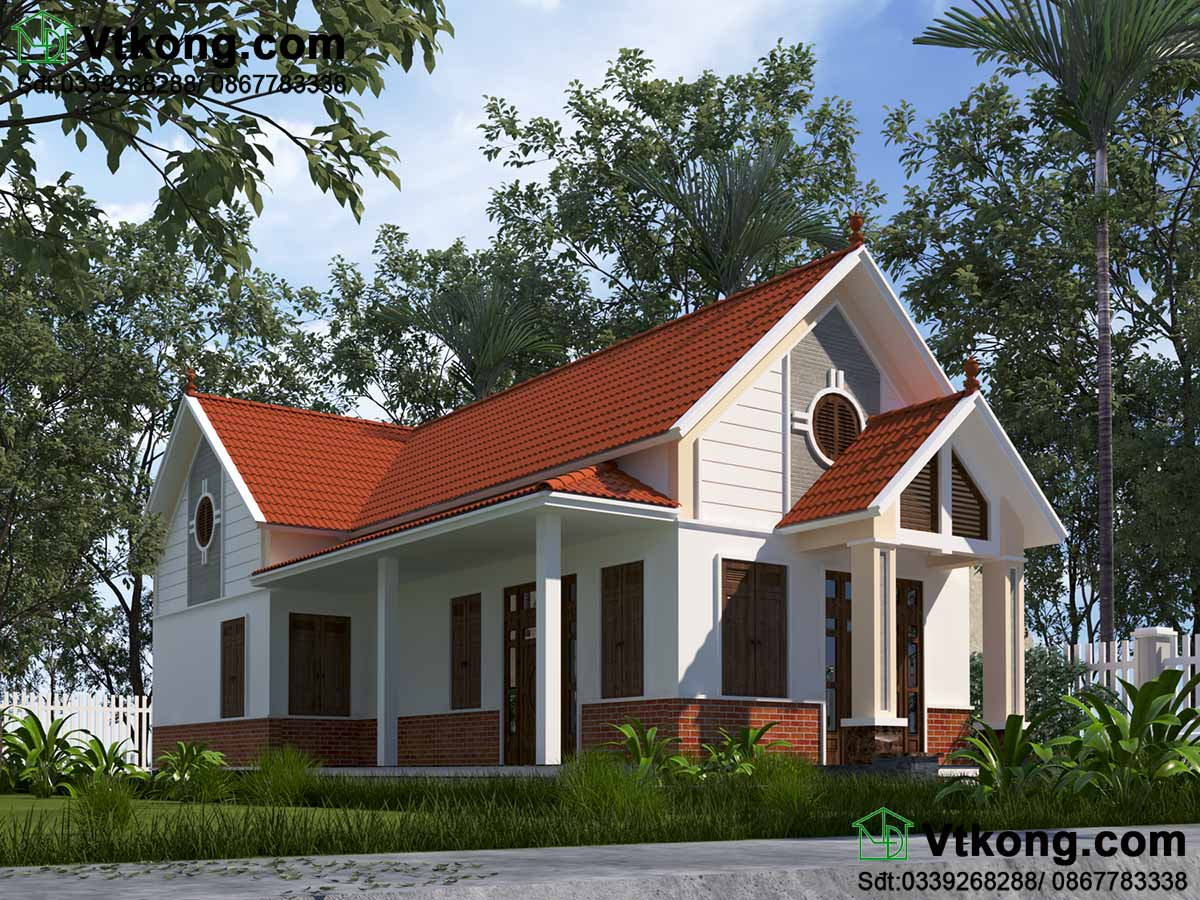 Mẫu số 4 - Mẫu nhà 1 tầng mái thái ở nông thôn