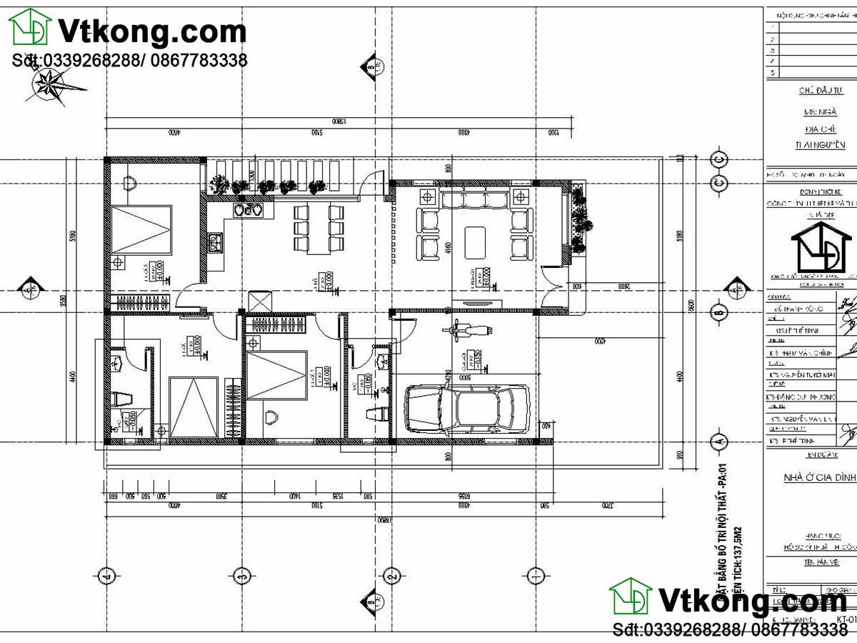 Mặt bằng bố trí nội thất biệt thự 1 tầng  BT1T65.