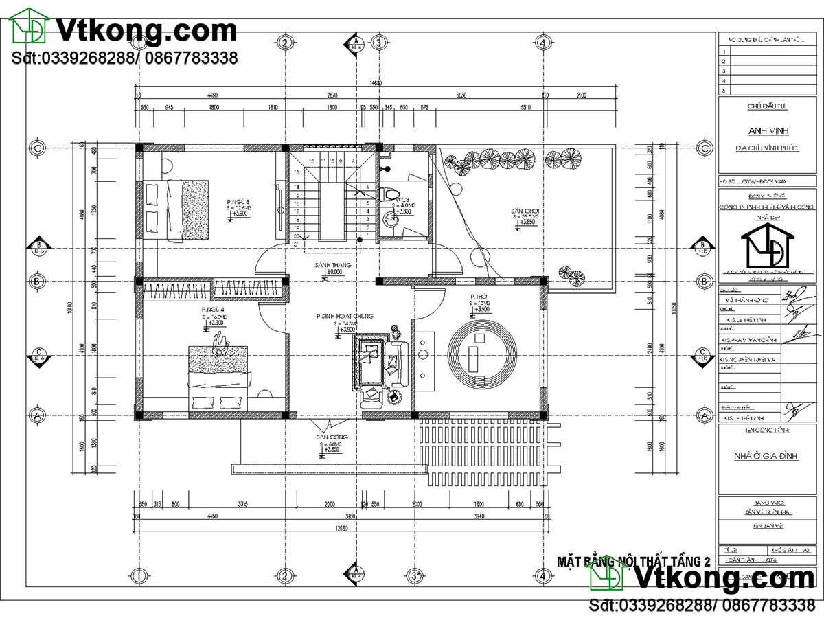 Mặt bằng nội thất tầng 2 biệt thự 2 tầng 10x15m hiện đại BT2T40.