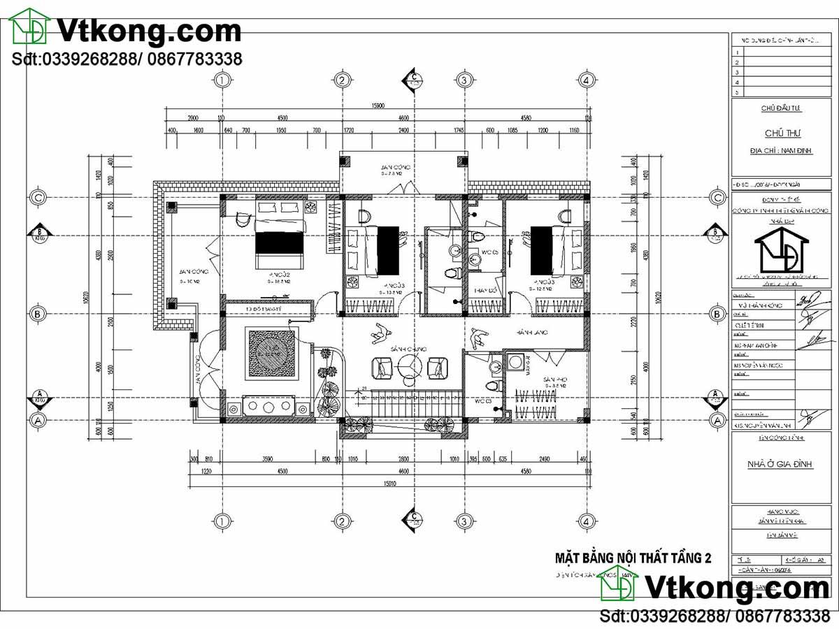 Mặt bằng nội thất tầng 2 biệt thự.