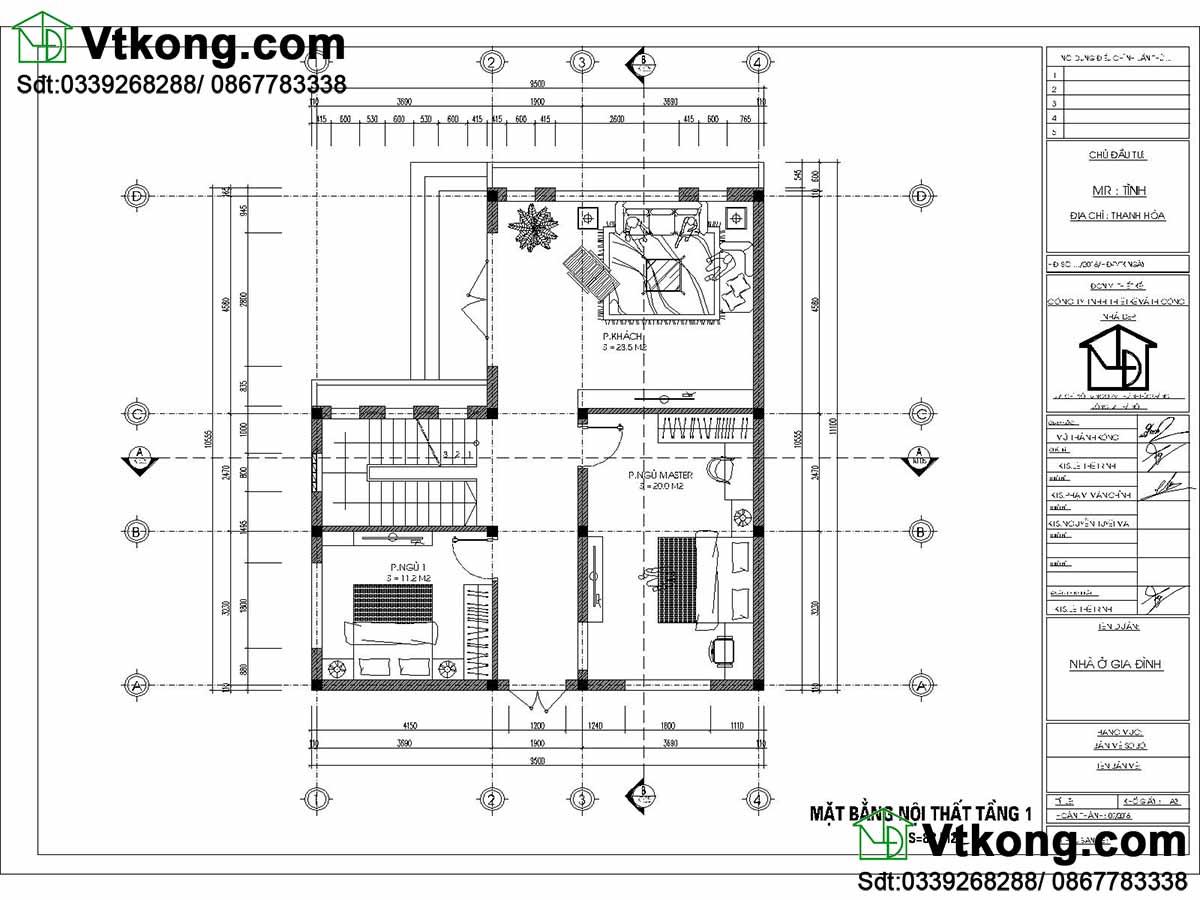 Mặt bằng nội thất tầng 1 biệt thự 2 tầng 9.5x11m mái bằng BT2T41.
