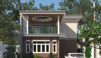 Biệt thự 2 tầng 9.5x11m mái bằng tại Thanh Hóa BT2T41