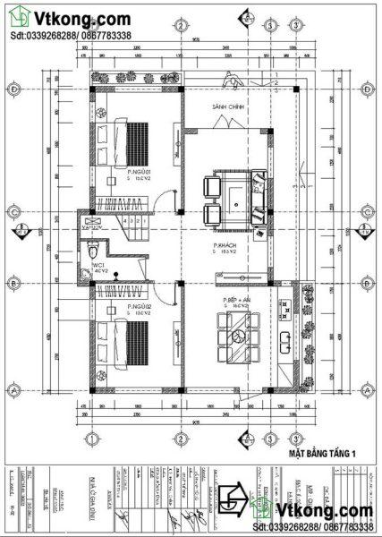 mặt bằng tầng 1 biệt thự 2 tầng mặt tiền 9m BT2T43