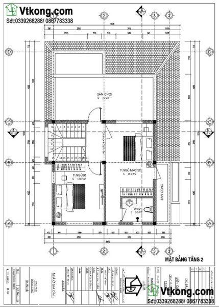 mặt bằng tầng 2 biệt thự 2 tầng mặt tiền 9m BT2T43