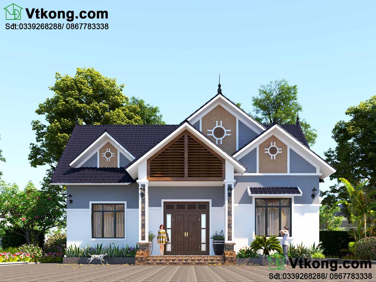 Mẫu số 6 - Mẫu nhà vườn mái thái 1 tầng hiện đại ở Ninh Bình