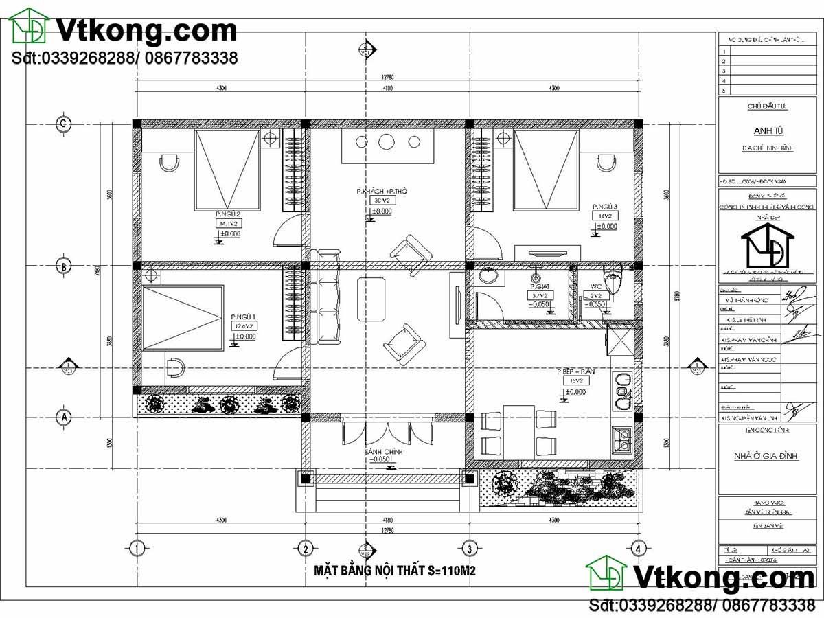 Mặt bằng nội thất mái thái thiết kế khoa học, tiện nghi.