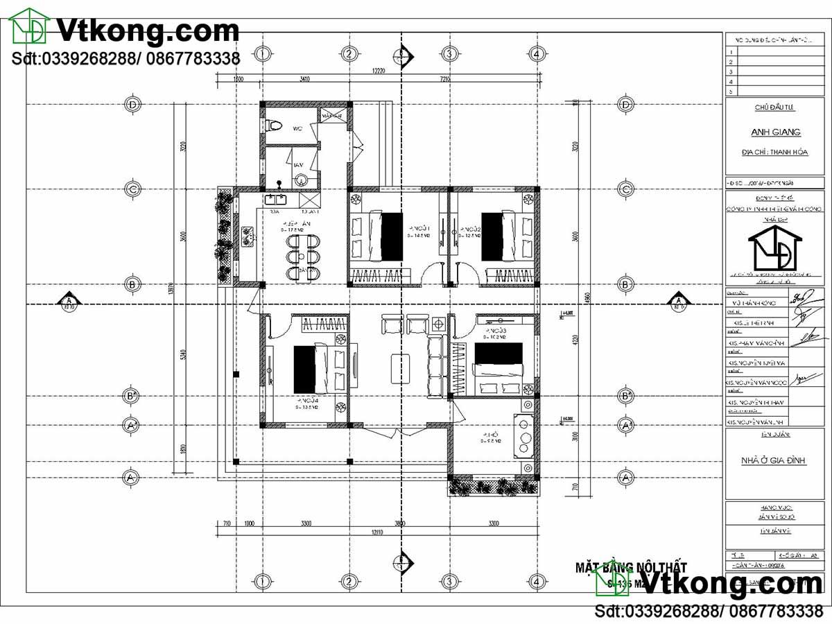 Mặt bằng nội thất biệt thự 1 tầng BT1T69.