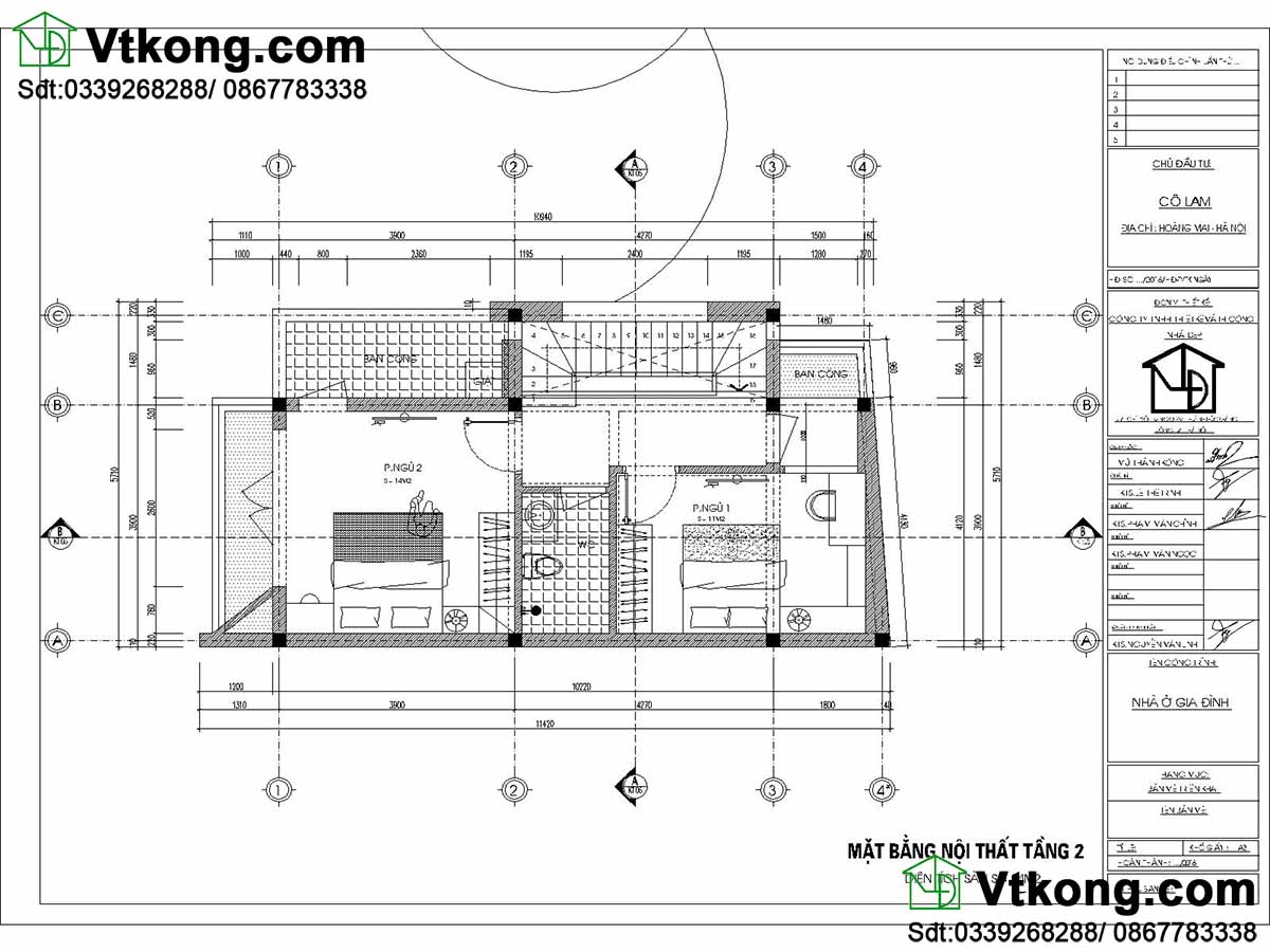 Mặt bằng nội thất tầng 2 nhà phố 2 tầng 5.7x10m.