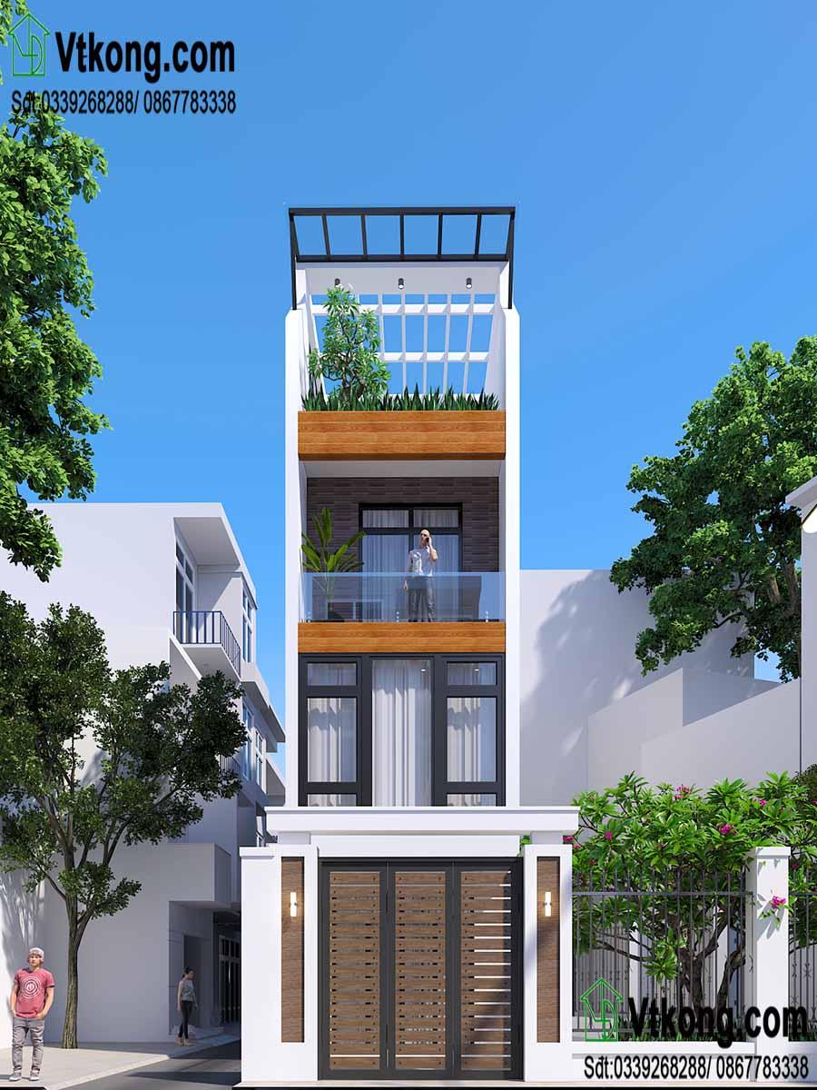 Phối cảnh mặt tiền nhà phố 3 tầng 4x12.