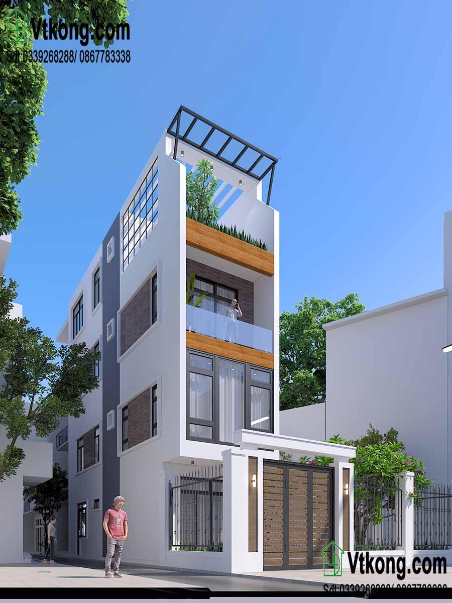 Nhà phố 3 tầng thiết kế theo phong cách hiện đại.