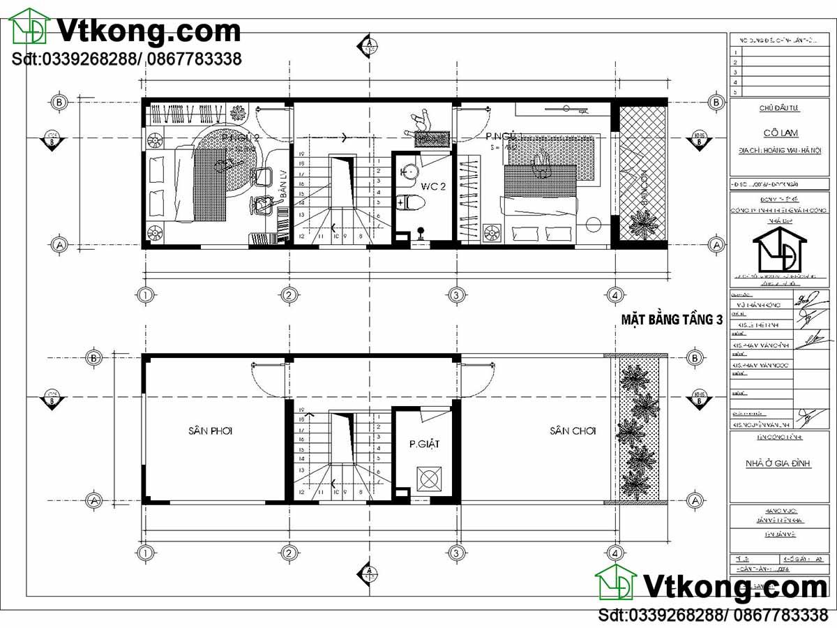 Mặt bằng nội thất tầng 3 nhà phố 3 tầng.