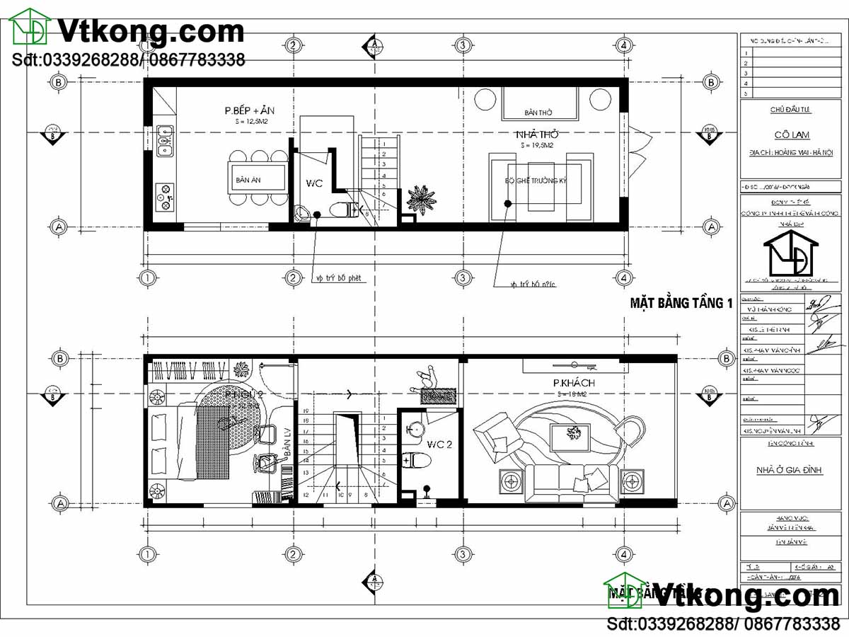 Mặt bằng nội thất nhà phố 3 tầng mái bằng.