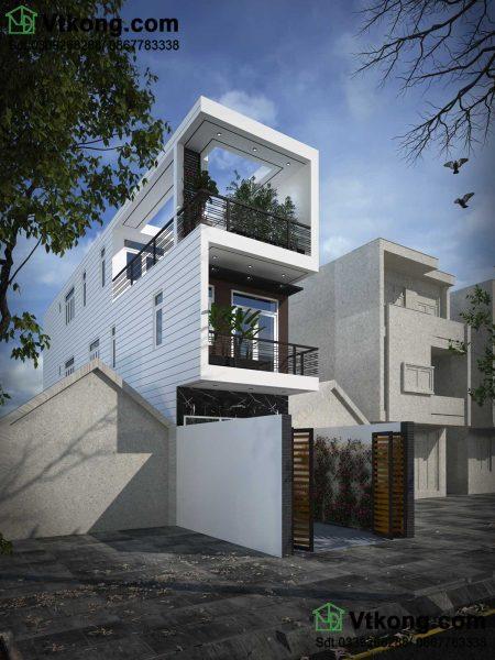 phối cảnh nhà phố 3 tầng mặt tiền 4mx20m NP3T12