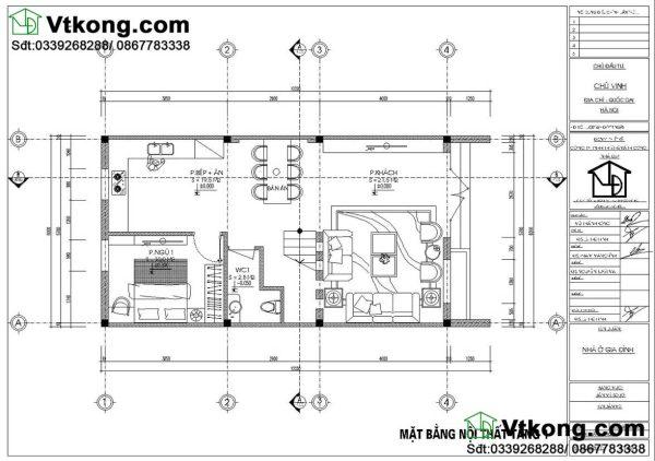 nội thất tầng 1 nhà phố 3 tầng mái bằng NP3T11