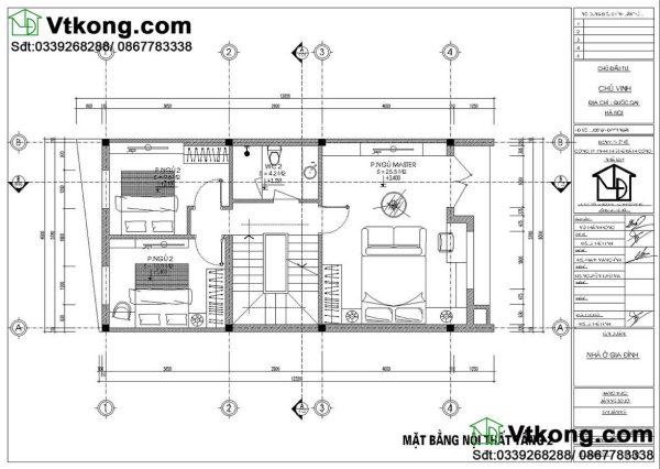 nội thất tầng 2 nhà phố mái bằng 1