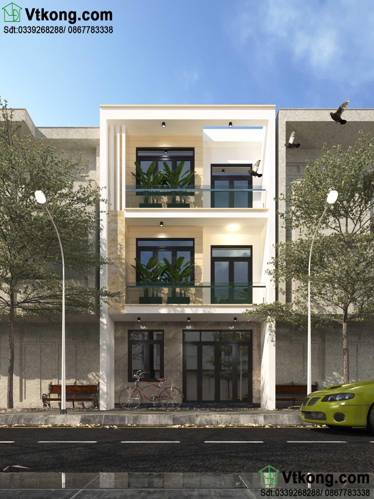 thiết kế nhà phố 3 tầng NP3T11