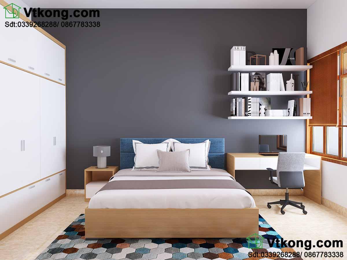 Phòng ngủ 2 được thiết kế theo phong cách hiện đại.