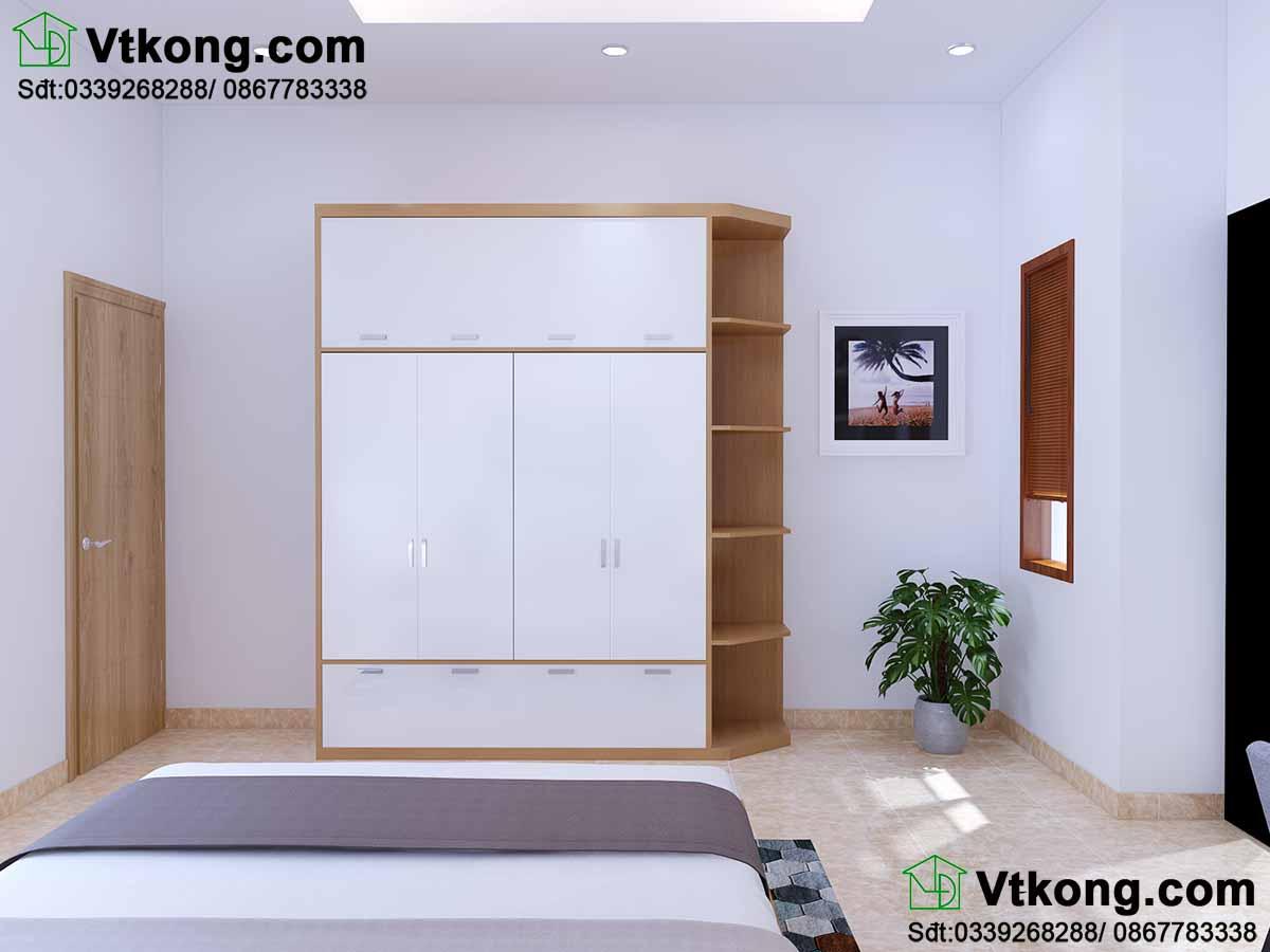 Vị trí tủ để đồ được thay đổi để tạo không gian các phòng khác nhau.