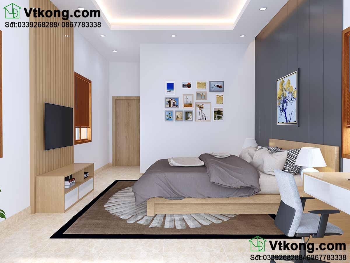 Phòng ngủ master có diện tích rộng hơn các phòng khác.