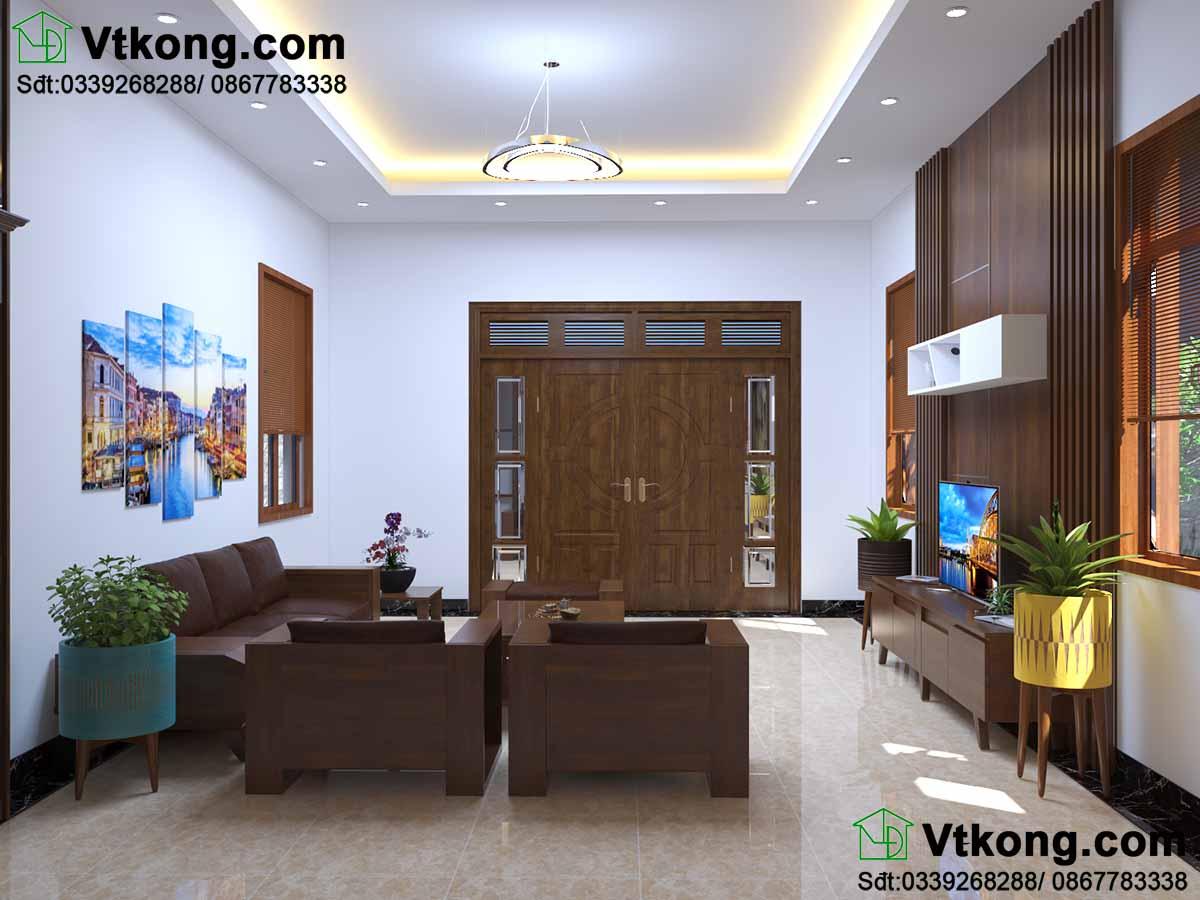 Phòng khách sử dụng toàn bộ nội thất hiện đại.