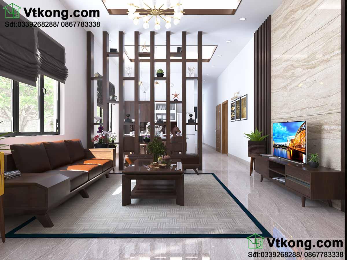 Thiết kế nội thất nhà cấp 4 cho phòng khách hiện đại, tiện nghi.
