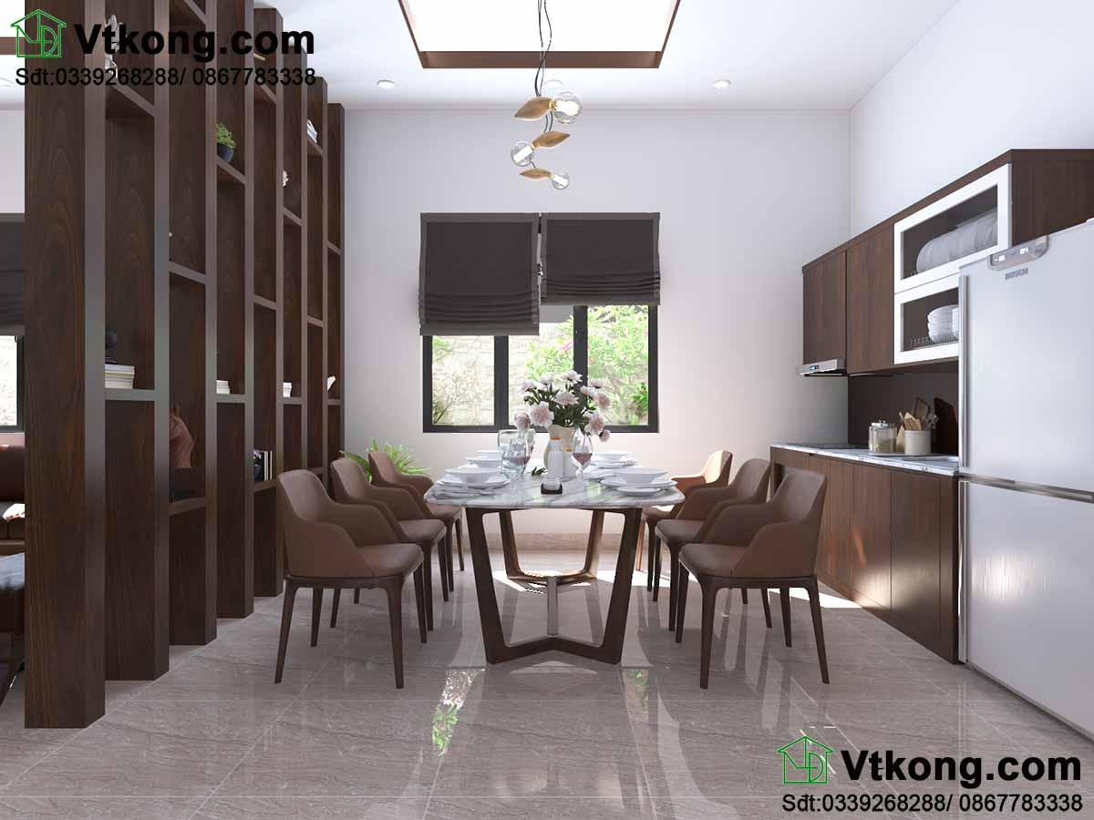 Thiết kế nội thất nhà cấp 4 cho phòng bếp.