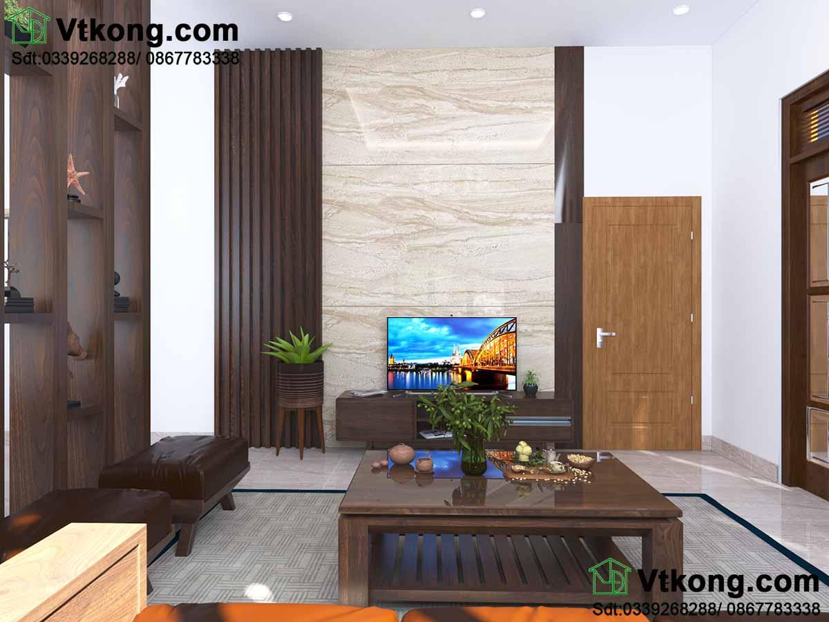 Nội thất phòng khách sử dụng toàn bộ gỗ.