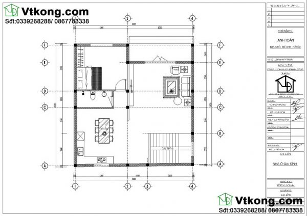 Nội thất tầng 1 biệt thự 2 tầng 10x10m BT2T48