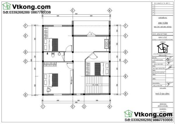 Nội thất tầng 2 biệt thự 2 tầng mái thái BT2T48