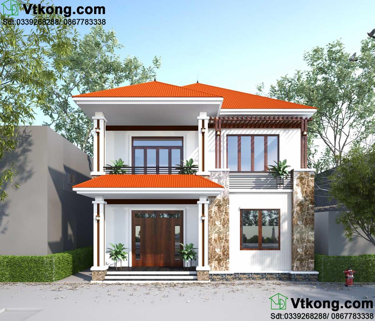 Biệt thự 2 tầng 10x10m mái thái mini tại Hà Nội BT2T48