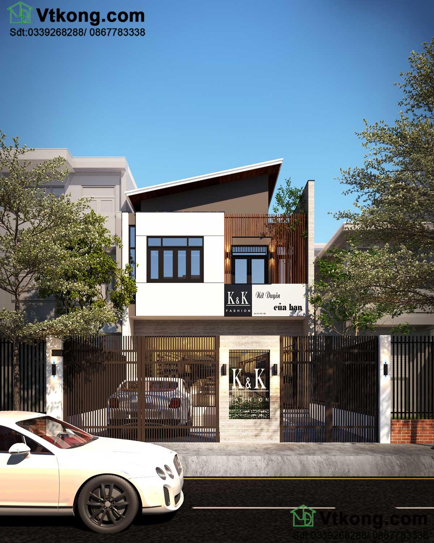Thiết kế mẫu nhà biệt thự phố 2 tầng trên đất xéo BT2T49