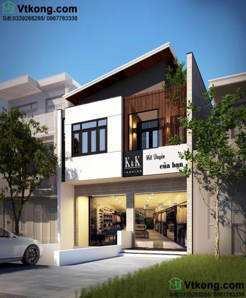 mẫu nhà biệt thự phố 2 tầng BT2T49