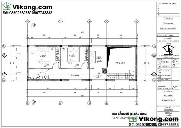 mặt bằng tầng 2 mẫu nhà cấp 4 diện tích 5x15m NC457