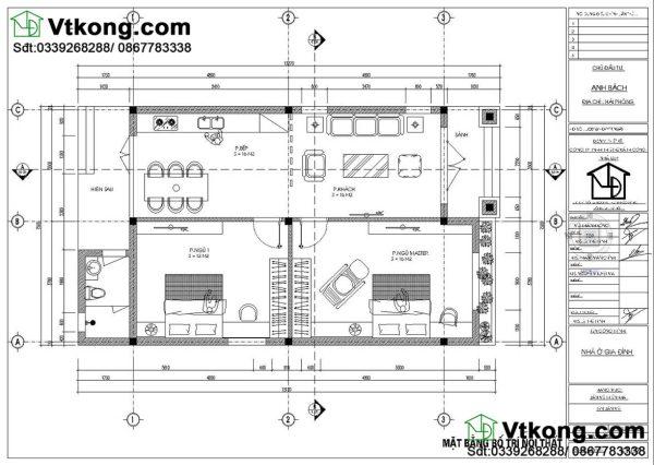 Mặt bằng nội thất mẫu nhà cấp 4 NC460
