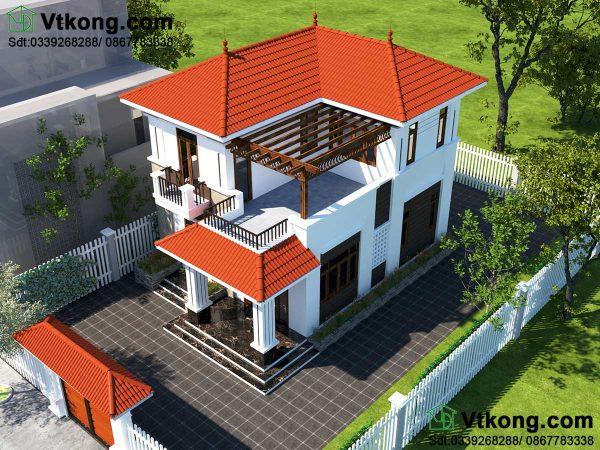 tổng thể phương án 2 thiết kế biệt thự 2 tầng 8x12m BT2T50
