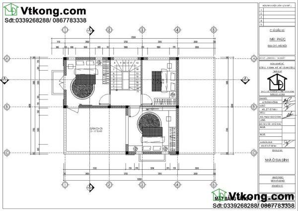 mặt bằng tầng 2 biệt thự 2 tầng 8x12m BT2T50