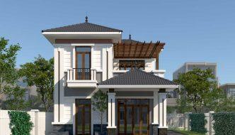 mặt tiền thiết kế biệt thự 2 tầng diện tích 8*12m BT2T50
